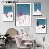abstract snow mountain canvas poster blue white stag skier landscape painting wall art modern living room home decoration