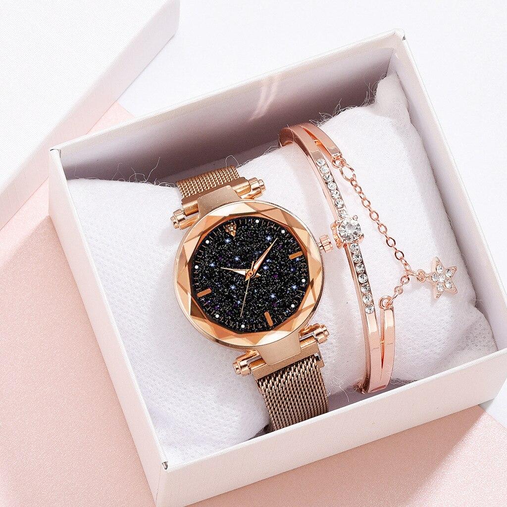 Nuevo conjunto de reloj y pulsera para mujer, relojes de cielo estrellado para mujer, banda magnética de cuarzo, reloj decorativo de diamantes para mujer, Zegarek Damski