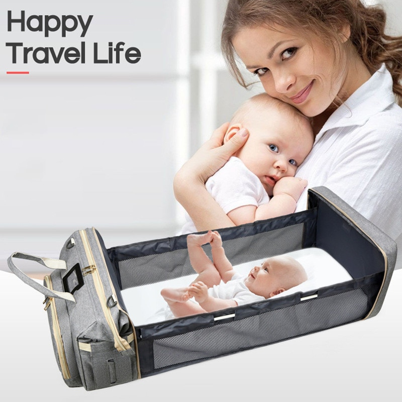 Crib Design Diaper Bags Mummy Bag High capacity Waterproof Fabric Nappy Backpack Changing Pad Hooks For Maternity Solid Color