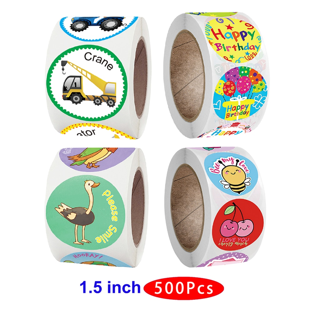 1.5'' 500pcs Cute Aesthetic Kids Animal Teacher Sticker Supply Cat Car Happy Post Scrapbook Thank You Girl Seal Label Birthday