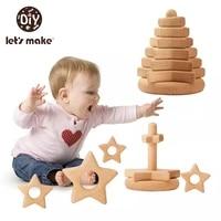 1set wooden geometric blocks toys jenga building block stacker star shape educational construction building toys set for kids