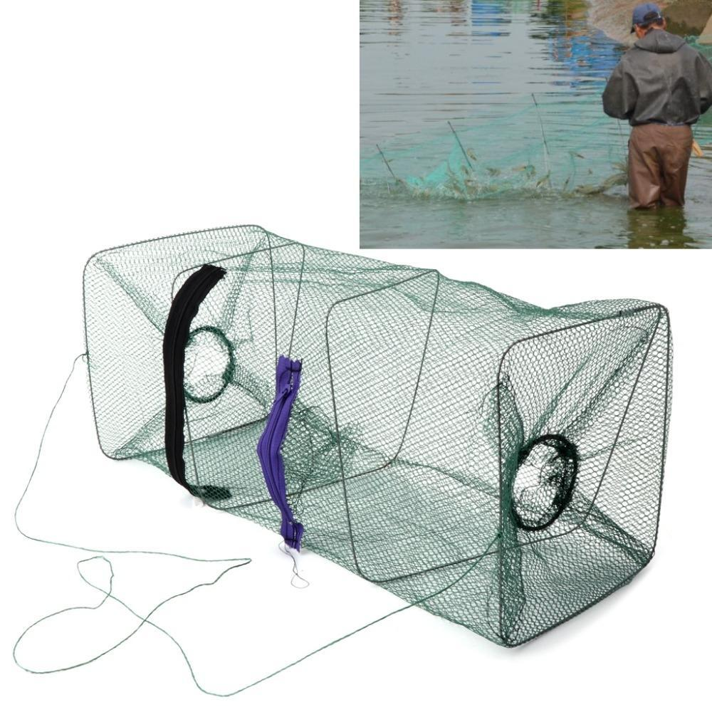 Jaula Promoción de Nylon fundido cangrejo cebo de pesca Minnow pesca de camarones neto peces 1 piezas Dip de cangrejo plegable jaula trampa de calidad