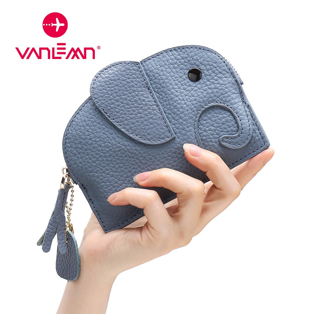 Coin Purse Mini Wallet Women Cartoon Elephant Creative Genuine Leather Clutch Bag Credit Card Holder