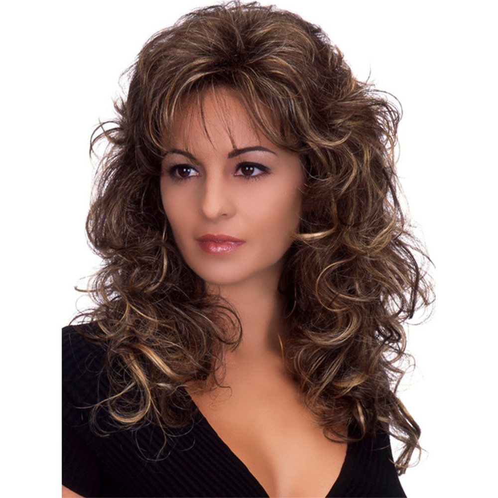 Long Wavy Wig for Women Synthetic Mixing Colour Wigs for Party or Daily Use Heat Resistant Hair style Wigs