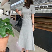 Женское Плиссированное облегающее летнее платье с коротким рукавом и оборками в Корейском стиле, простое платье с круглым вырезом