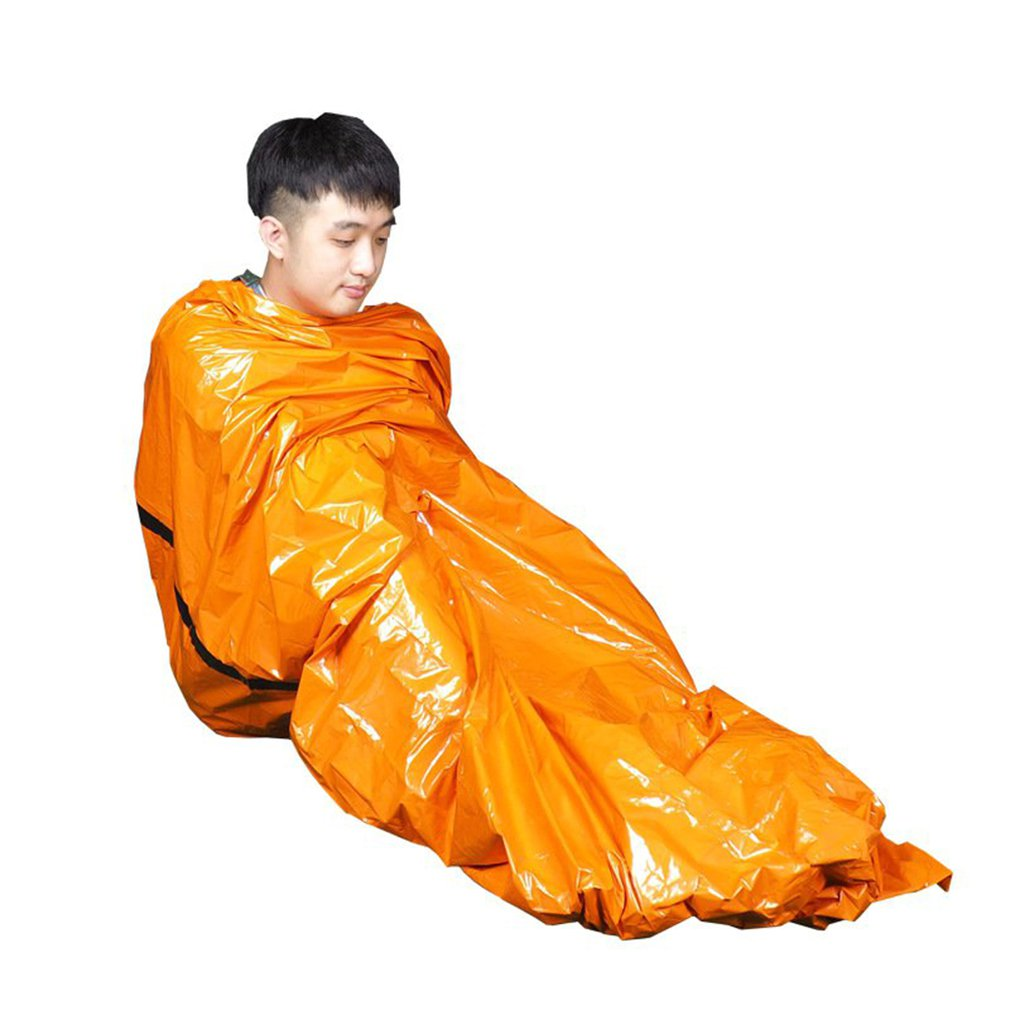 Saco de dormir impermeable de emergencia PE para exteriores, saco de dormir de primeros auxilios para alivio de desastres, aislamiento térmico, saco de dormir salvavidas