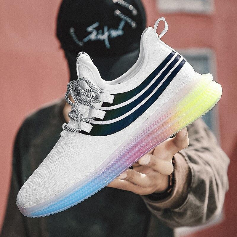 Zapatillas de deporte blancas y negras para Hombre, zapatos informales para Hombre, Zapatillas transpirables para caminar, Zapatillas de entrenamiento de ocio para Hombre