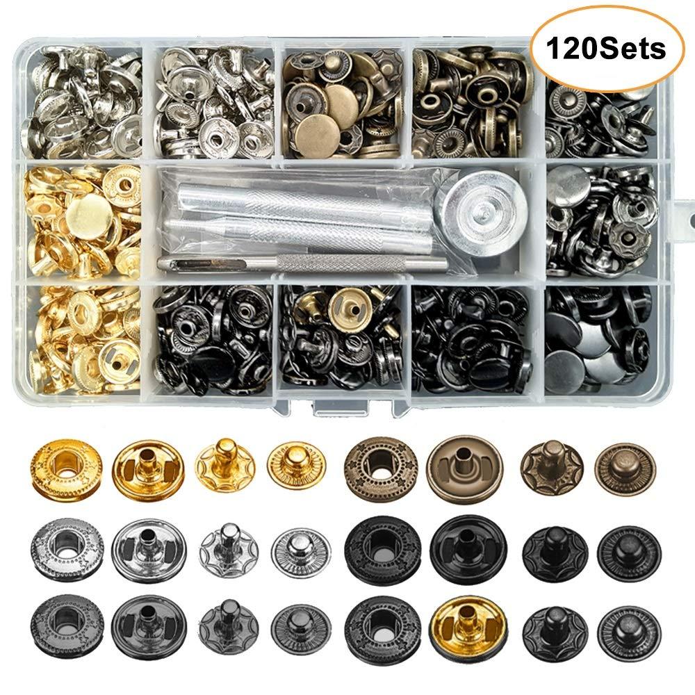 Kit de cierre a presión de cuero, botones a presión de Metal de 12,5mm, 4 herramientas de instalación, 6 broches de cuero de Color para ropa, chaquetas