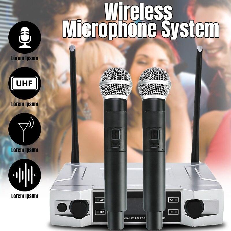 Sistema de micrófono de Karaoke Inalámbrico UHF profesional pantalla LCD con micrófono de mano Dual para fiesta KTV