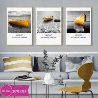 Affiches de peinture sur toile de decoration de noel  tableau dart mural de bateau jaune pour decoration de salon  decoration de maison