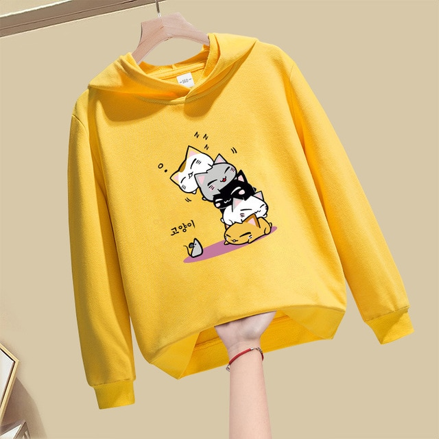 EuerDoDo Hoodies For Girls Clothes  Children's Sweatshirt Cartoon Kids Outerwear Hoodie Spring Autumn Streetwear Cotton Coat