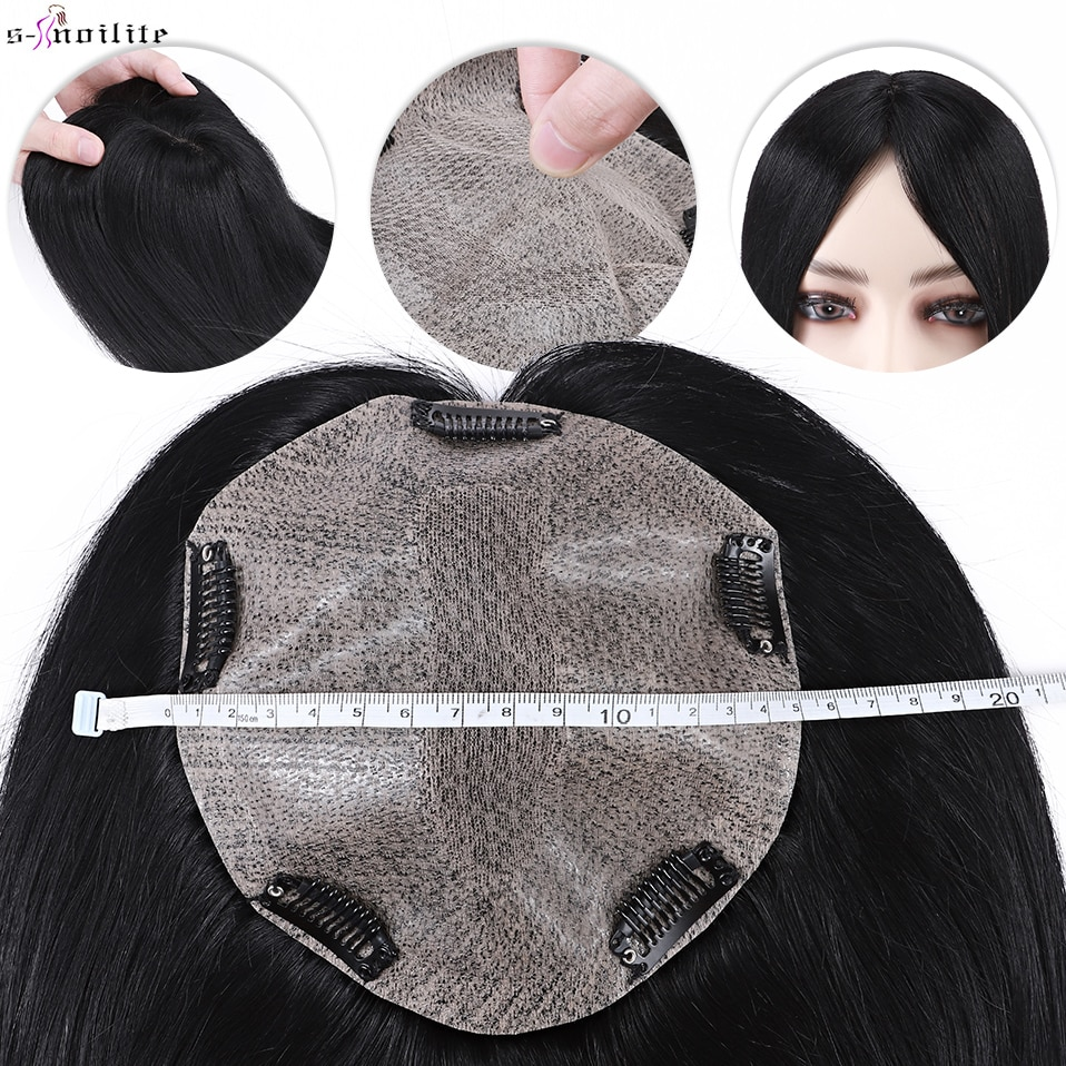 S-noilite Hair Toppers Human Hair 15x16cm Lace Silk Base Hair Cilp Natural Hair Wig 100% Human Hair Clip In Hairpiece Fake Hair