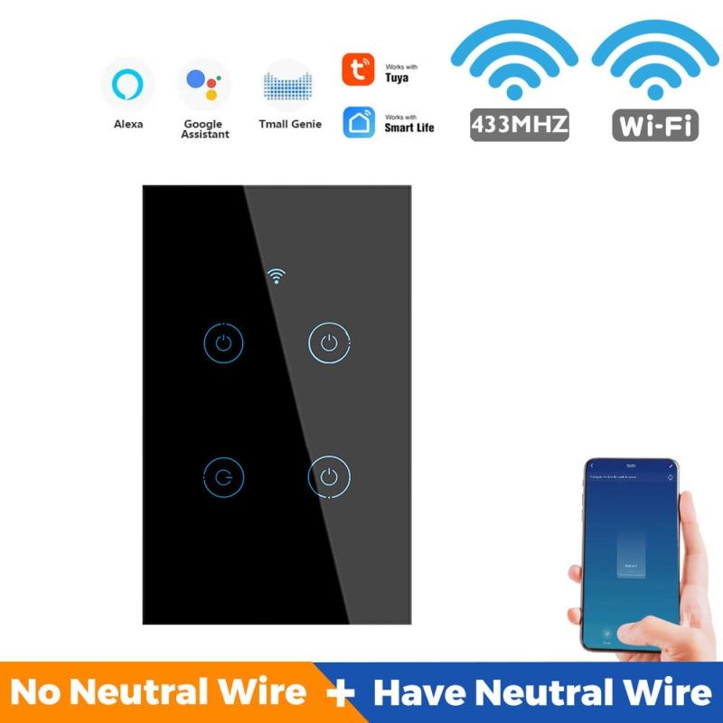 Commutateur de contact de lumière intelligente de WiFi avec le panneau en verre de Luxuray nous 1/2/3/4 Gang 220V commutateur de mur de WIFI fonctionnent avec Alexa, Google Home