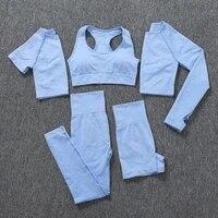 235pcs seamless women sports suits yoga set workout sportswear gym clothing fitness long sleeve crop top high waist leggings