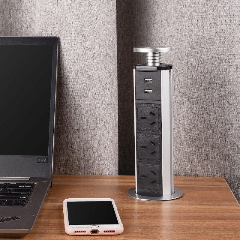 LENGON سحب المنبثقة 3 الطاقة AU/نيوزيلندا مقبس 2 USB ميناء الشحن المطبخ الجدول سطح المكتب مآخذ قابل للسحب سطح العمل التوصيل