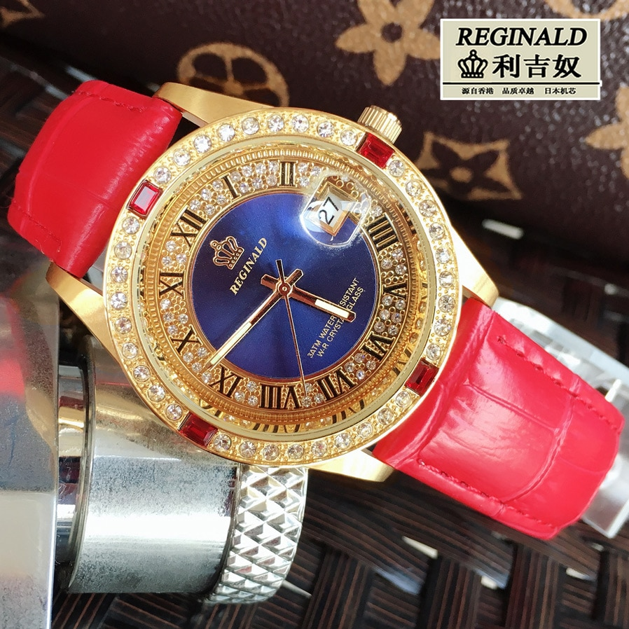 2019 Watches For Ladies Big Dial 36mm Red Leather Luminous  Fashion Quartz Rhinestone Watch Gold Full-jewelry Luxury Wristwatch enlarge