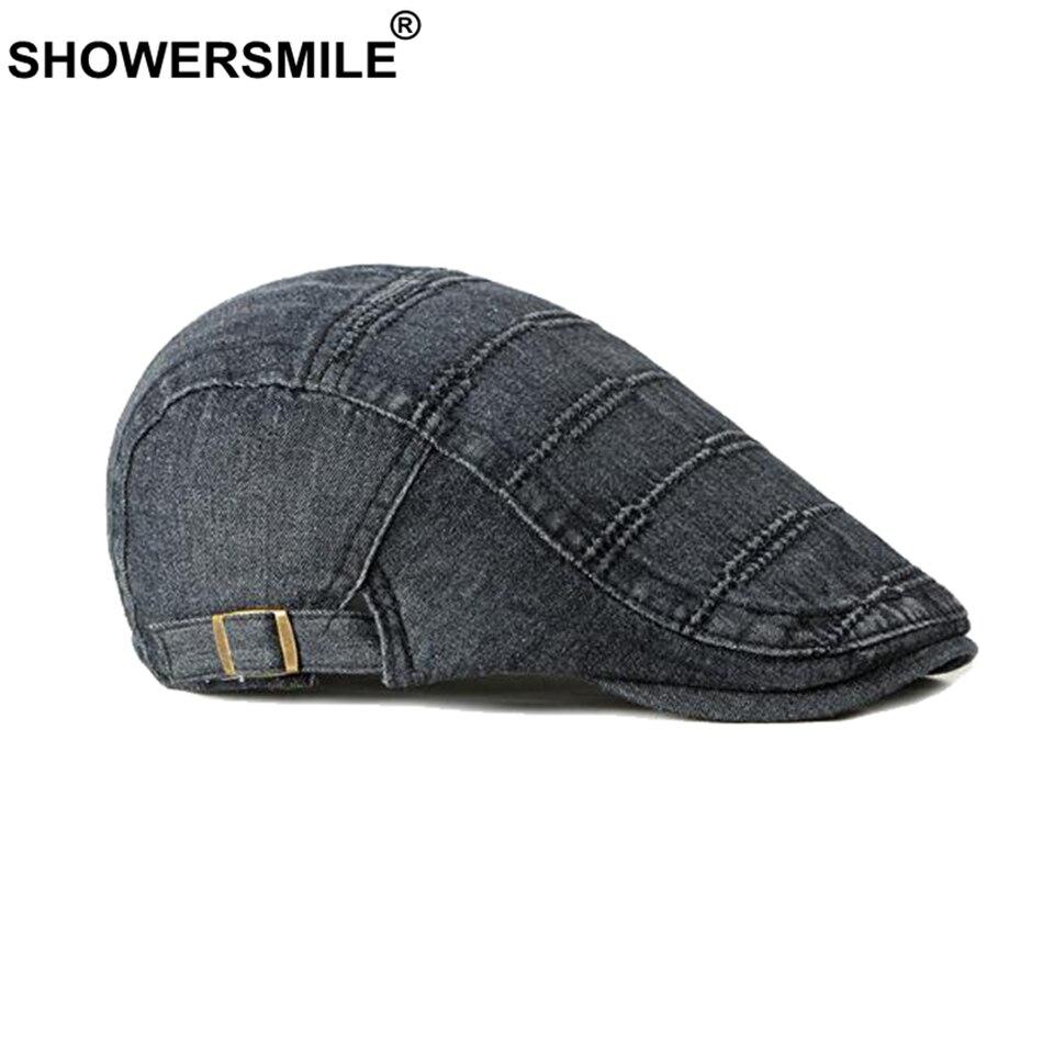 Мужская джинсовая кепка SHOWERSMILE, черная Регулируемая Кепка с плоской подошвой, повседневная Кепка Duckbill для вождения, Кепка на весну и лето