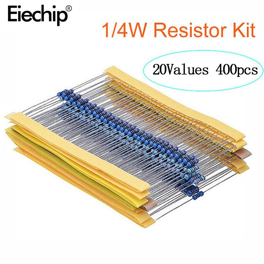400pcs/lot 1/4W Metal Film Resistor Assortment Kit 10ohm - 1M ohm 1% Resistance set 1K/10K/4.7K/470/680 ohm electronic resistors 150pcs lot 5w power carbon film resistor kit assortment set 1k ohm 820k ohm 5