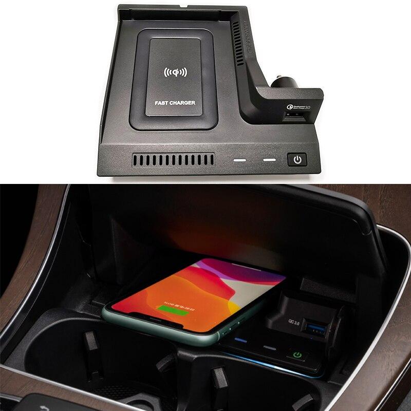 Cargador inalámbrico QI para Mercedes Benz W205 AMG C43 C63 AMG GLC43 GLC63 GLC63 GLC clase central, soporte de teléfono de carga para consola