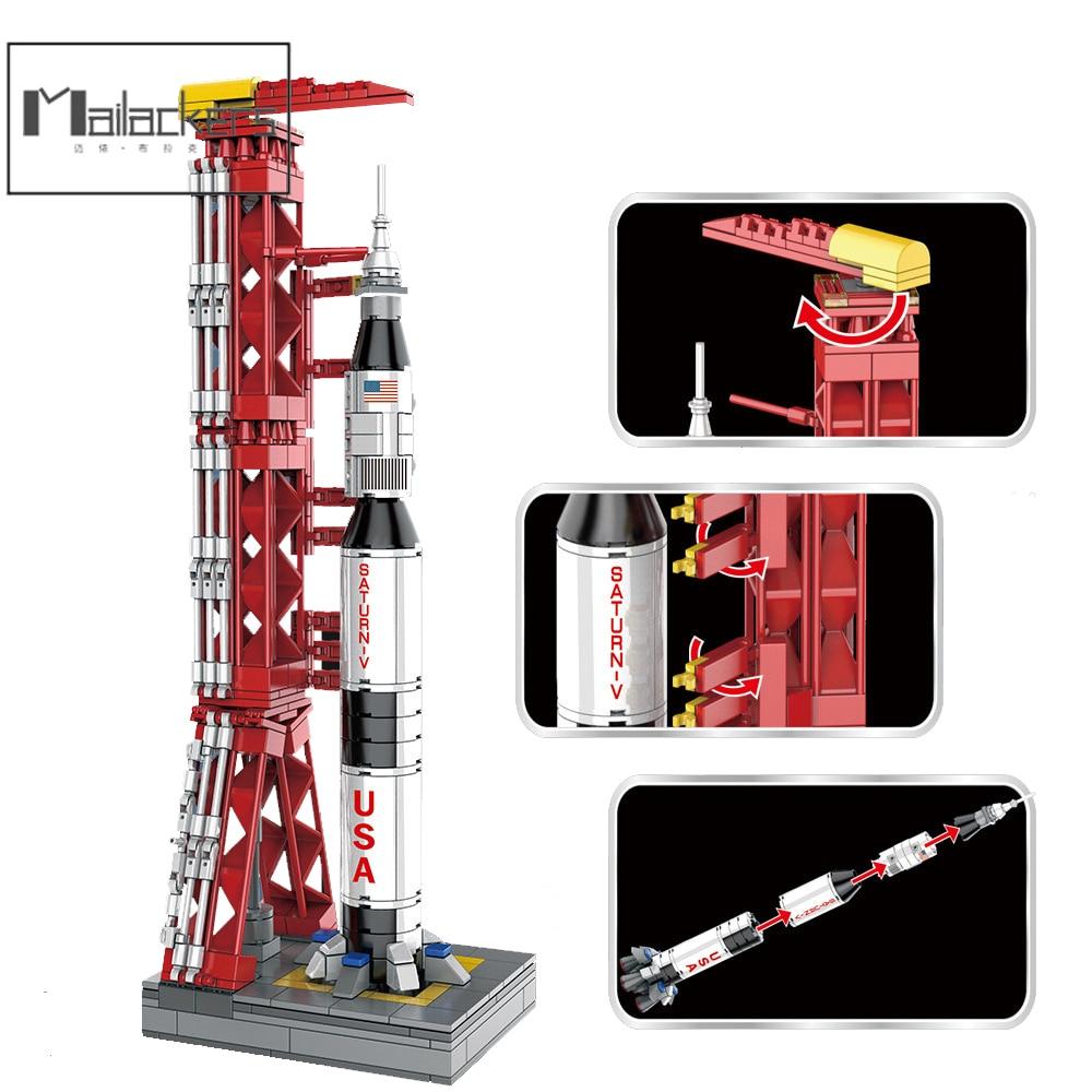 Mailackers Technical Saturn V Rocket City Space Station Shuttle Launch Tower Spacecraft Building Blocks Bricks Toys For Children недорого