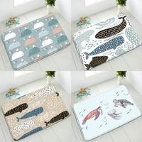 cartoon ocean animals non slip bathroom mat whale dolphin sea turtle starfish bedroom kitchen indoor floor mats absorbent carpet