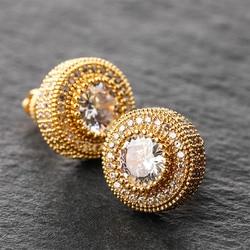 Conjunto de pinos aaa + zircônia cúbica bling congelado para fora brincos redondos para homens feminino hip hop rapper jóias ouro rosa