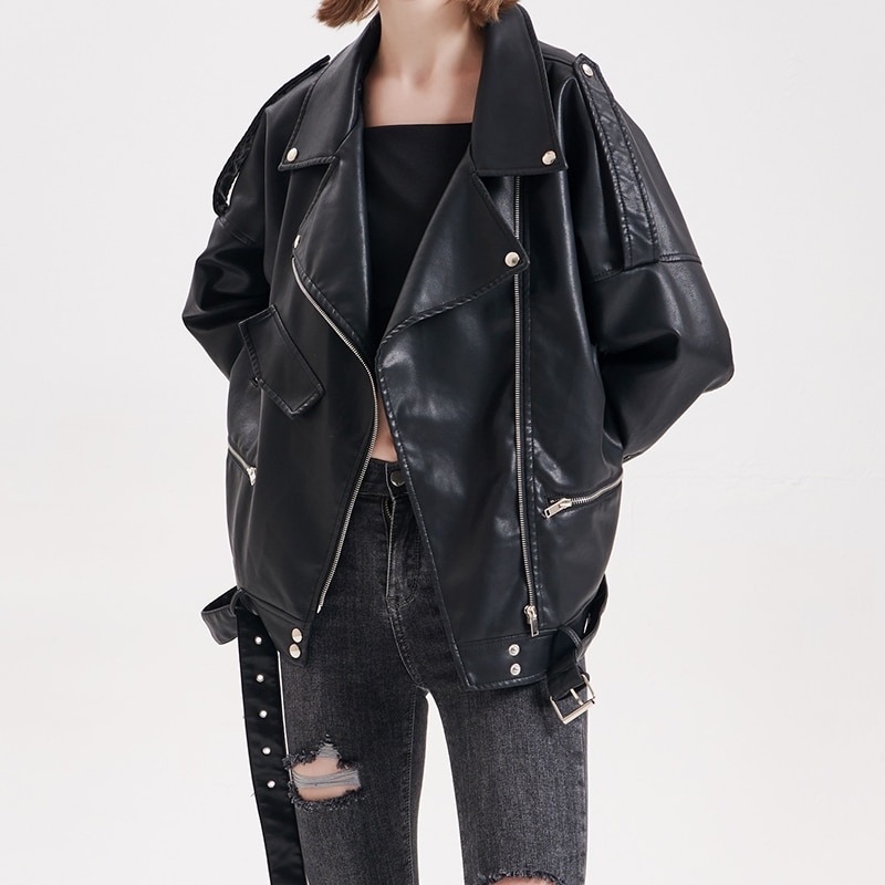 Fall 2020 Women Loose Punk Jacket Coat Trend Motorcycle Faux Soft Leather Leather Coat Large Size All-match Leather Jacket