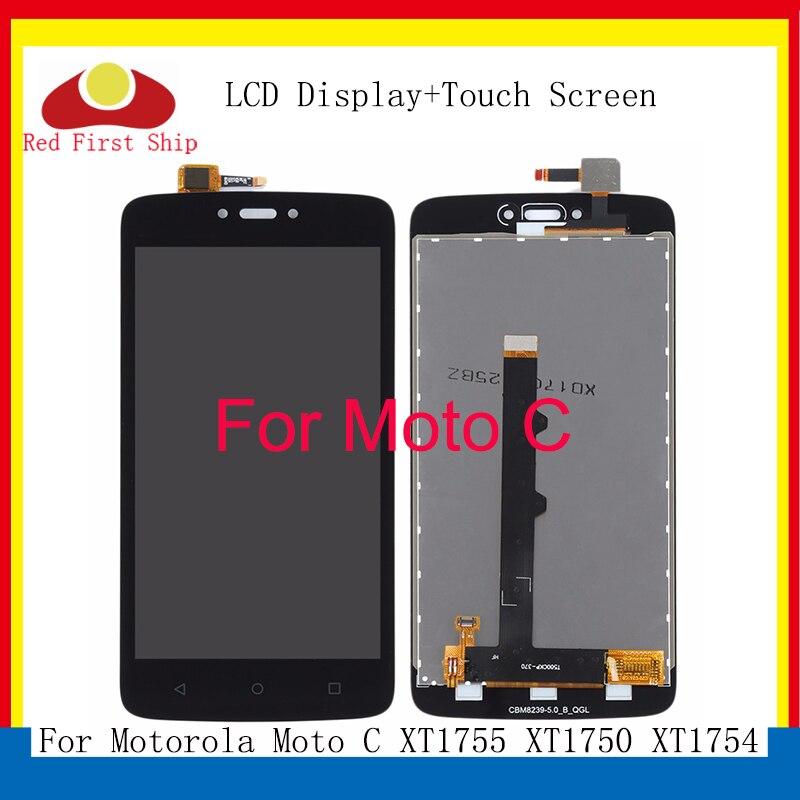 10 unids/lote LCD para Motorola Moto C MONTAJE DE digitalizador con pantalla táctil para Motorola Moto C pantalla XT1750 XT1755 XT1754