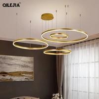 Creative moderne pendentif Led lumieres maison deco eclairage brosse anneaux plafond monte eclairage suspension lampe pour salon salle a manger