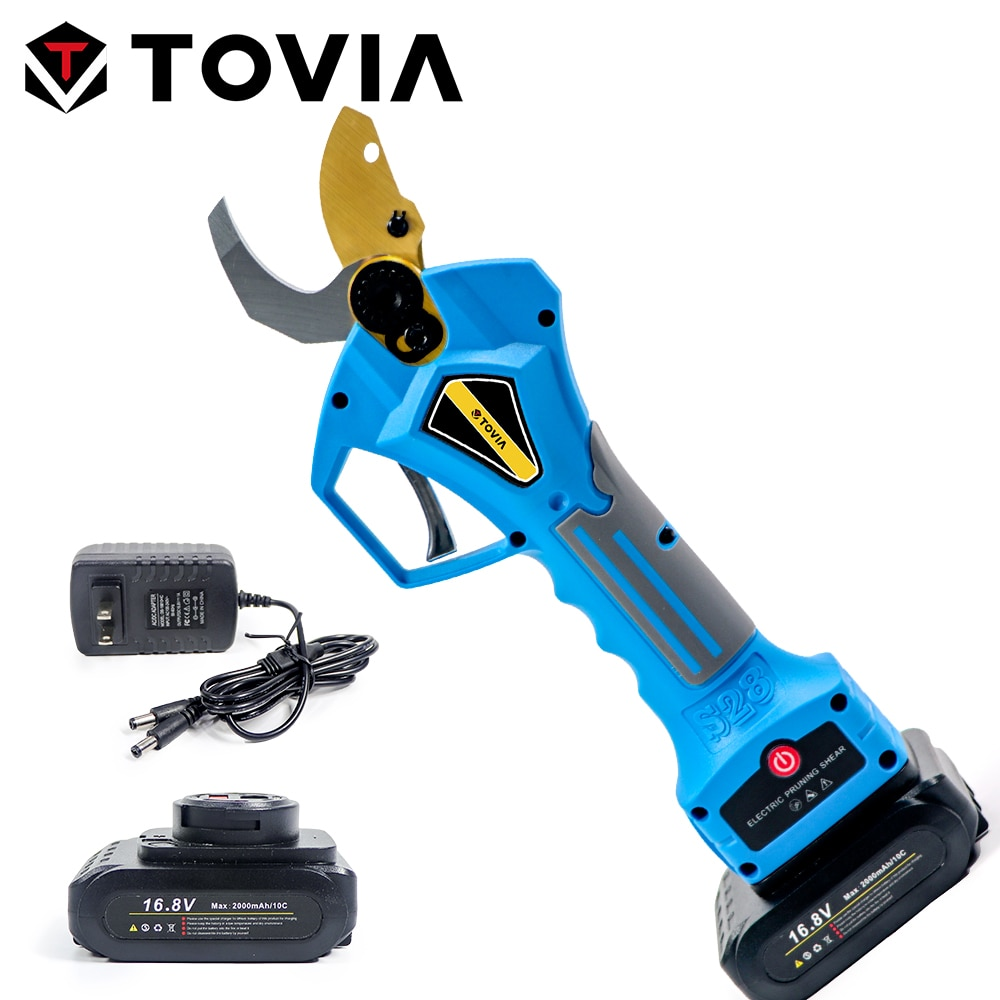 TOVIA 16.8V/21V Electric Pruner Shear Brushless Cordless Pruner with 2 Lithium-ion Battery for Fruit Tree Bonsai Branches