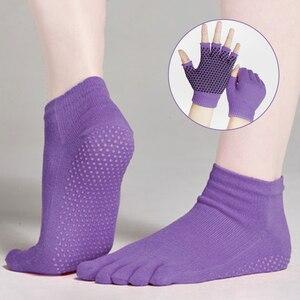 4pcs Yoga Socks and Gloves Set Full-Toes Non Slip Grip Socks Yoga Gloves for Women Barre Pilates Dancing Exercise Sock & Glove