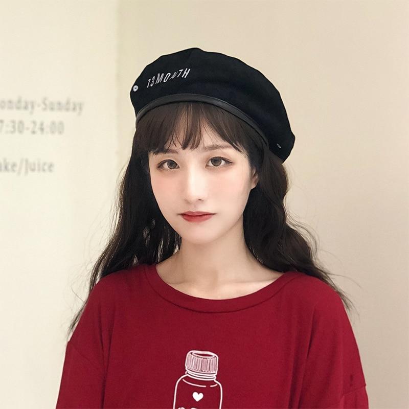 H3550 mujeres boina sombrero femenino coreano invierno gamuza pintor Cap Harajuku bordado carta Casual alta calidad moda chica sombreros