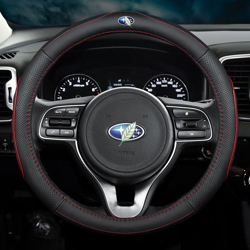 Cubiertas de volante de cuero genuino de coche fino sin olor para Subaru WRX STi BRZ XV Forester Impreza accesorios Levorg