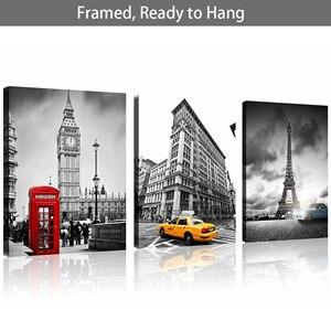Черно-белый холст с рамкой Эйфелевой башни Биг-Бен красный телефонный стенд в Лондоне художественный Декор желтая кабина городской пейзаж ...