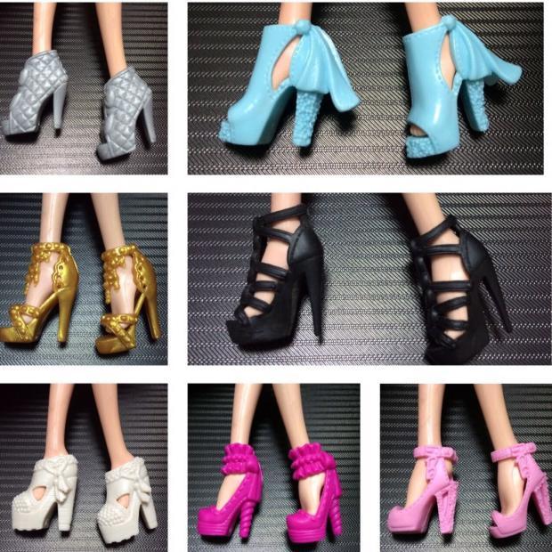 Muñeca de Sandalias con tacón de moda para niña, zapatos para Barbie,...