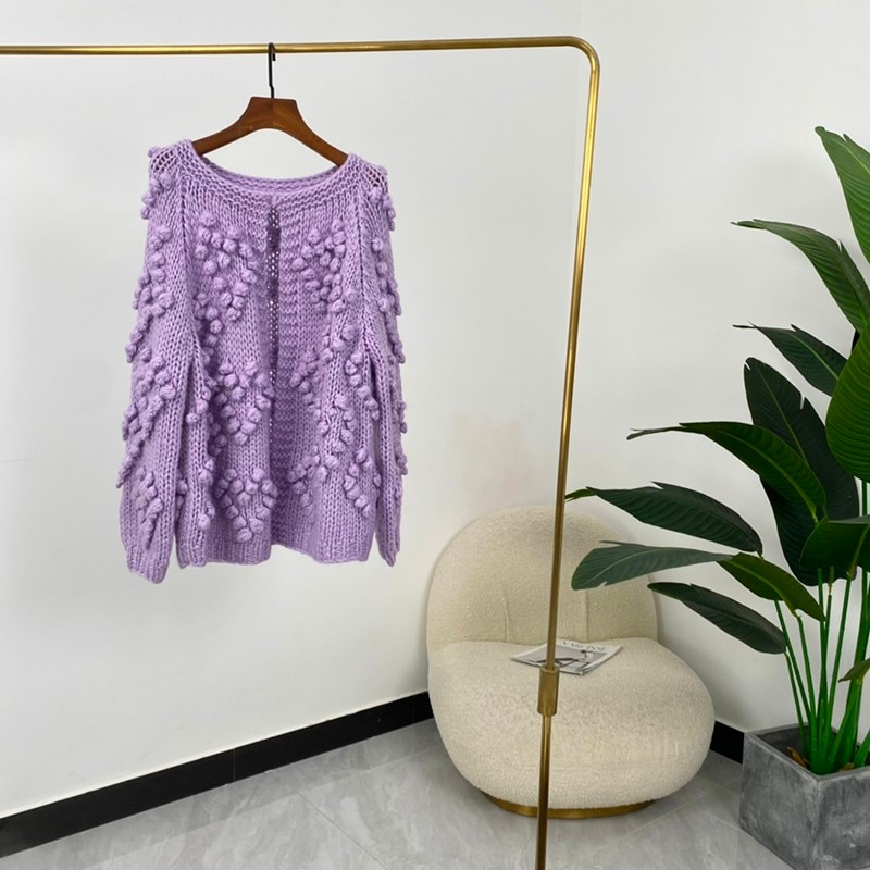 High Quality Autumn Women Fashion Solid Long Sleeve Open Stitch Loose Sweater enlarge