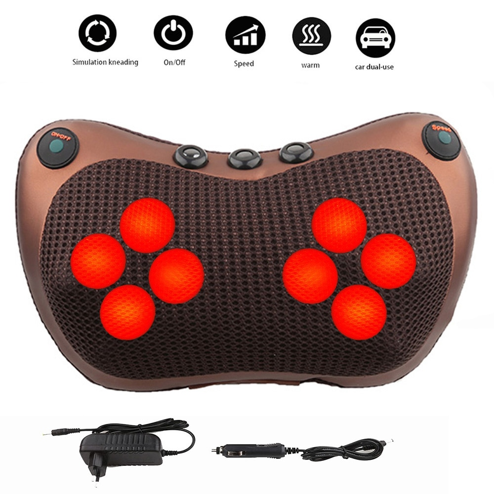 8 head Massage Pillow Relax Vibrator Electric Shoulder Back Heating Kneading Infrared therapy shiatsu Neck Massager