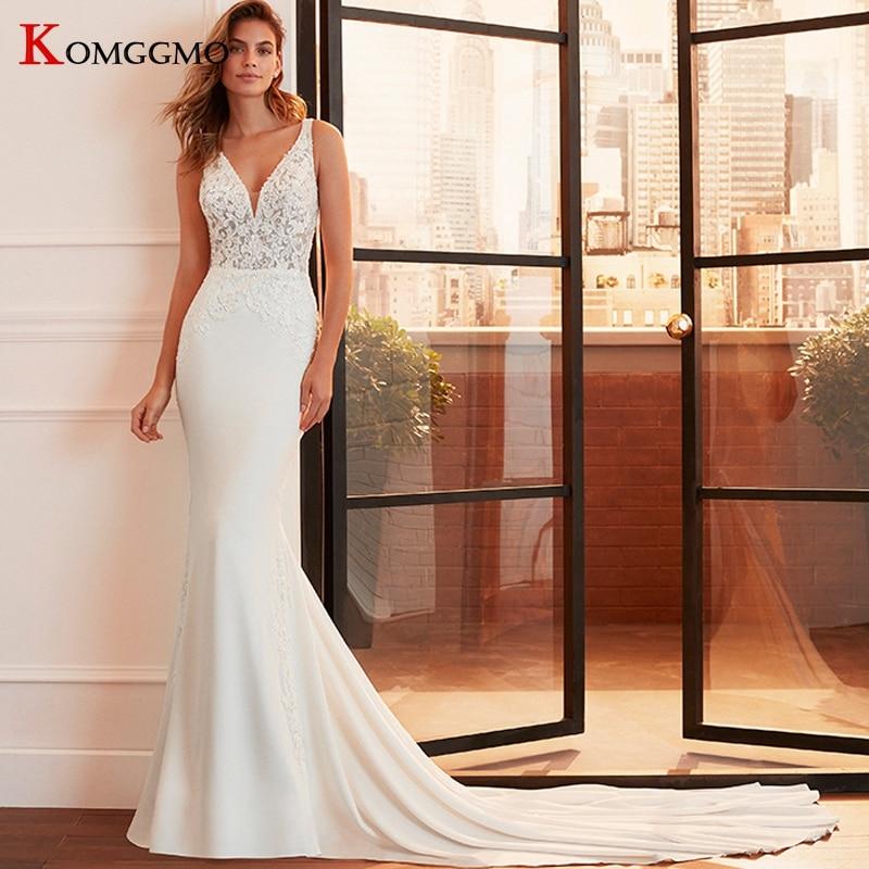 فستان زفاف تول بدون أكمام ، مصنوع حسب الطلب ، ياقة على شكل v ، مطرز ، على شكل حورية البحر ، أنيق ، مع زر خلفي ، ذيل