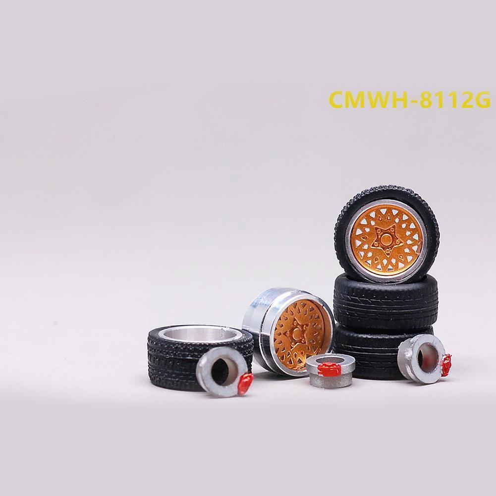 1:64 Model Modified 4 Wheels 2 Axles 4 End Caps Caps General Change Rubber Of Wheel Tire Alloy Diecasts Wheel Car Model Veh W8M1 a group of 4 60mm 14159 mecanum wheel omni wheel robot 60 mm aluminum wheels