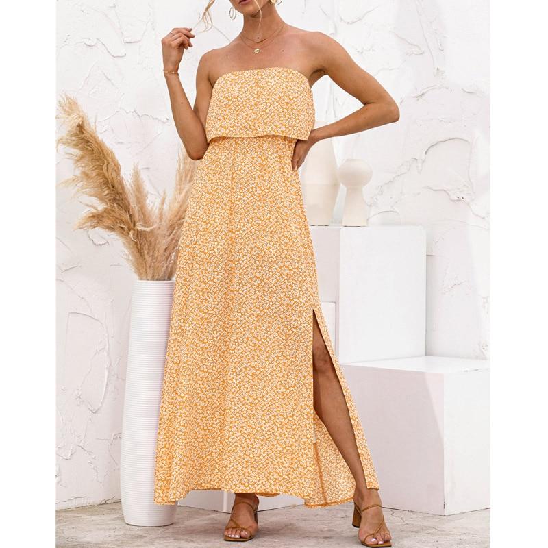 Women Strapless Sexy Long Dress Side Split Boho Beach Summer Streetwear Leaves Floral Print 2021 New Green Holiday Maxi Dresses