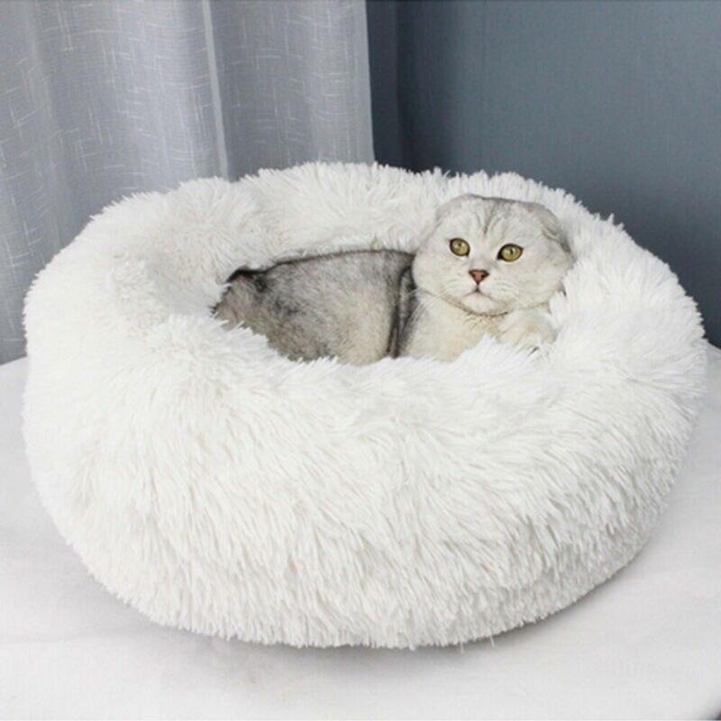2020 HOT Dog Long Plush Dounts camas cama calmante Hondenmand mascota perrera Super suave y esponjoso cómodo para perro grande/casa de gato