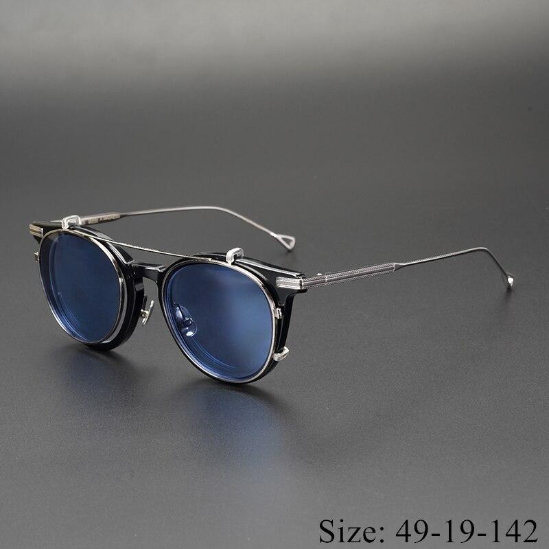 Gafas de sol clásicas retro redondas con clip, montura de acetato de titanio puro, caja original tipo piloto a la moda, gafas para hombre y mujer