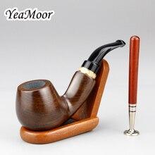 Pipa de madera clásica de ébano, filtro de 9mm, pipa de tabaco hecha a mano, soporte de madera, juego de Tamper de tabaco 2 en 1, nueva pipa de fumar, 10 herramientas gratis