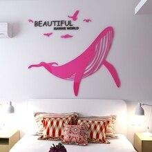Stickers muraux en acrylique 3d pour baleine   Miroir pour salle de séjour bureau, décor mural de fond de chambre à coucher, autocollants muraux en acrylique bricolage