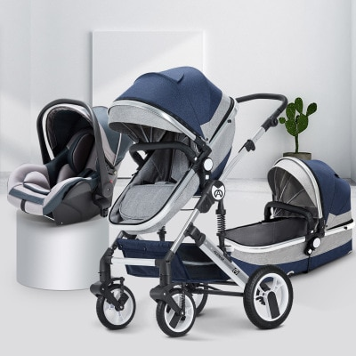3 In 1 Baby Stroller Can Sit And Lie Down Two-way Pram Shock-Absorbing Folding High-view For Baby Newborn Carriages