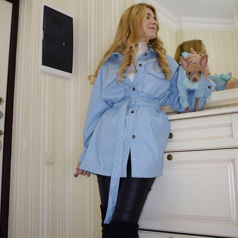 Women Blue Soft Jacket Dress Solid Sexy Slim PU Leather Dresses Elegant Tie Belt Waist Button Pockets Outfits