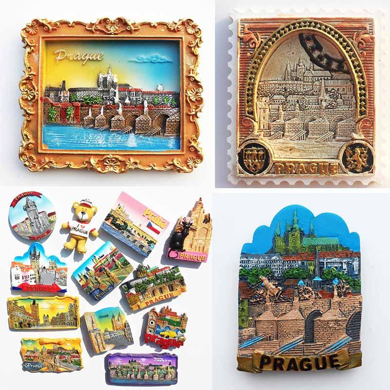 Czech Fridge Magnets Prague Landmark Building Tourist Souvenir Magnetic Refrigerator Stickers Travel Collection Home Decor Gifts tallinn estonia fridge magnets tourist souvenir 3d resin crafts magnetic refrigerator stickers collection decoration gifts