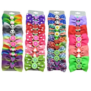20PCS/Card Lovely Fruits Ties Bow Creativity Hairpins For Baby Girls Clips Goth Pins Barrette Scrunchy Kids Hair Accessories NEW