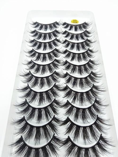 10 pares de pestañas 3D QUXINHAO, pestañas postizas naturales gruesas, pestañas postizas, extensiones de maquillaje, pestañas, cilios maquiagem