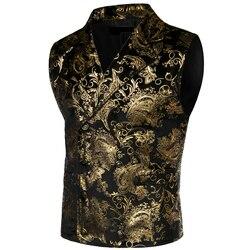 Homens steampunk vitoriano gótico cosplay traje colete jaqueta paisley ouro jacquard duplo breasted lapela smoking colete gilet